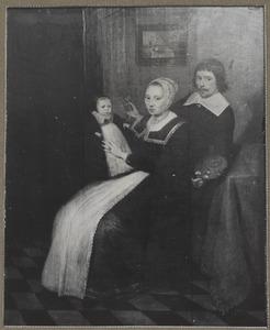 Zelfportret van Jan Alberts. Rotius (1624-1666) met  Maertje Ambrosijns (....-....) en Jacob Rotius (1644-....)