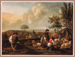 Italianiserend landschap met herders en hun dieren voor een hut