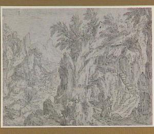 Rotsachtig berglandschap met de Heilige Antonius abt, op weg naar zijn schuilplaats