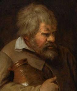 Tronie van een man met kruik; allegorie van gulzigheid