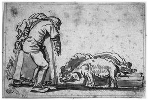 Man en vrouw met varkens