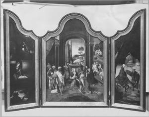 De geboorte (links), de aanbidding van de Wijzen (midden), de vlucht naar Egypte (rechts)