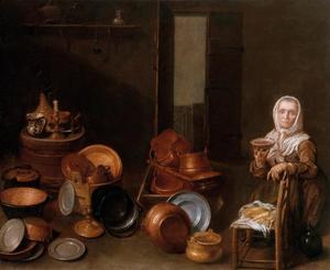 Keukeninterieur met een oude vrouw