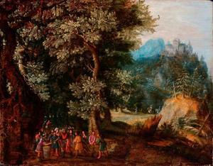 Boslandschap, de beker wordt in Benjamins tas gevonden