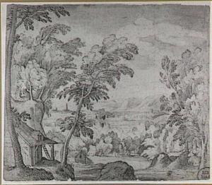 Heuvellandschap met bomen en hutten