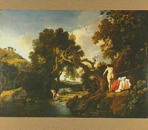 Boslandschap met Salmacis en Hermaphroditus (Ovidius, Metamorfosen IV, 288)