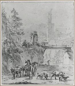 Bergachtig rivier landschap met ruïnes en herder met vee