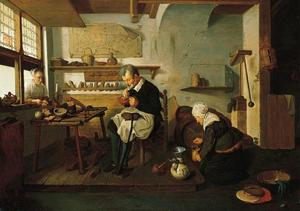Schoenmaker met wijntappende vrouw en een klant