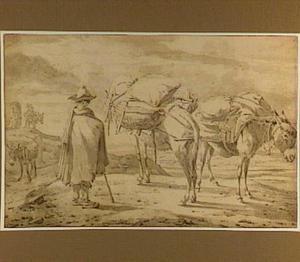 Twee pakezels met ezeldrijver in heuvellandschap