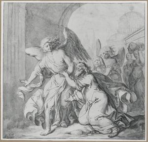 De engelen leiden Lot en zijn familie uit Sodom