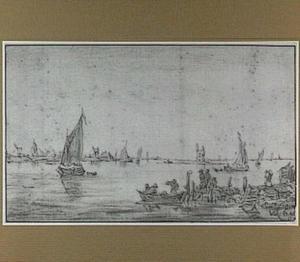 De Merwede bij Dordrecht; op de achtergrond de ruïne van het Huis te Merwede