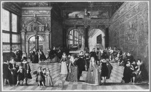 Elegant gezelschap in een paleisinterieur