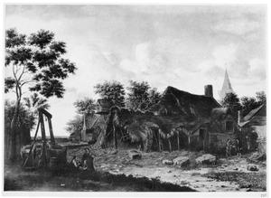 Landschap met vervallen huizen