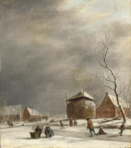Winterlandschap met figuren op het ijs in een dorp