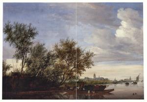 Veerboot met vee en een gezicht op kasteel Nijenrode aan de Vecht