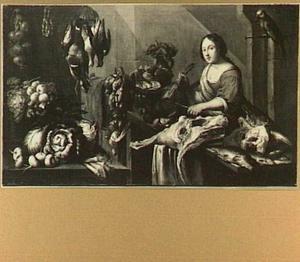 Keukeninterieur met vrouw die een fazant schoonmaakt