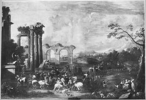 Zuidelijk landschap met een jachtgezelschap bij Romeinse ruïnes
