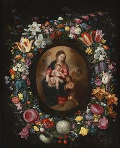 Bloemenkrans rond een ovaal met daarin een Madonna met Christus