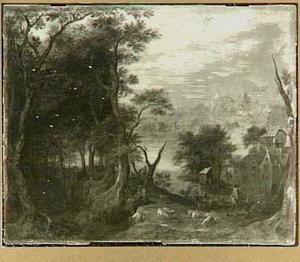 Boslandschap met fluitspelende herder en zijn kudde