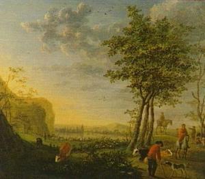 Landschap met herders met vee en ruiters op een rivieroever