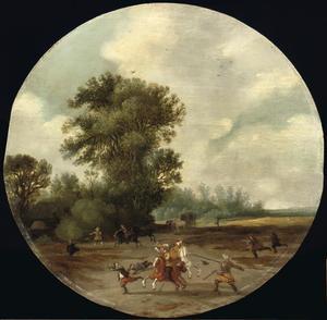 Landschap met gevecht op de voorgrond