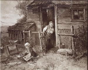 Meisje bekijkt voor een huis een schildersdoos. Een kind kijkt toe.