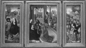 De vlucht naar Egypte (links), de aanbidding van de Wijzen (midden), de kindermoord te Bethlehem (rechts)