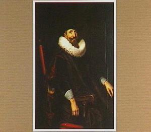 Portret van een man met puntbaard gezeten in een leunstoel