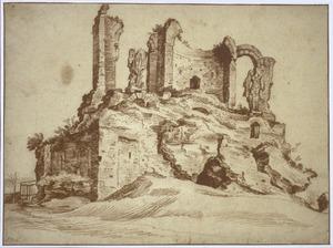 Rome, ruïne van het nymphaeum van het Aqua Julia-aquaduct, genaamd de 'Trofei di Mario', op de Esquilijn