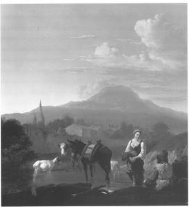 Landschap met boeren en een herderin