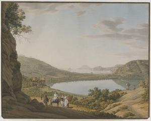 Gezicht op het meer van Averno