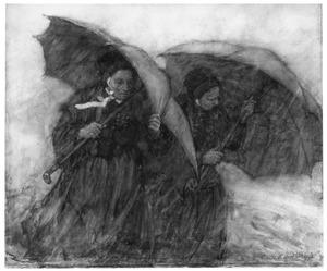 Hollandse vrouwen in de regen