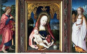 H. Johannes de Evangelist (linkerluik); Maria met kind (middenpaneel); H. Maria Magdalena (rechterluik)