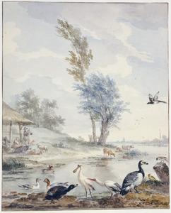 Rivierlandschap met lepelaar, reiger en andere vogels