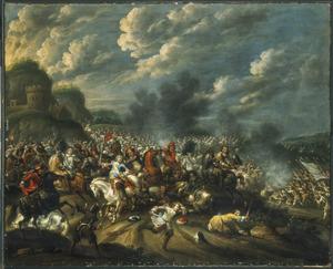 Veldslag tussen Westerse en Turkse troepen, mogelijk de Slag bij Hotin tussen de Poolse koning Jan Sobieski III en de Turken, 15 november 1673