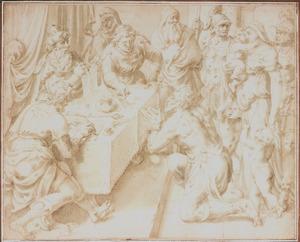 De gelijkenis van de onbarmhartige dienstknecht: de koning scheldt hem zijn schuld kwijt  (Mattheus 18:23-25)
