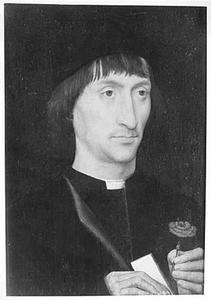Portret van een man met een anjer en een brief in de hand