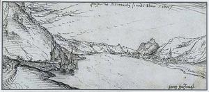 Gezicht vanaf Andernach Rijn afwaarts
