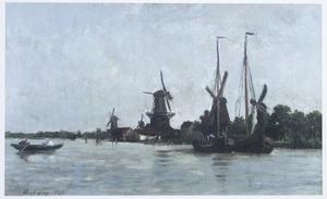 Molens langs het water bij Dordrecht