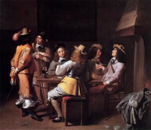 Rokende, converserende en kaartspelende officieren in een interieur