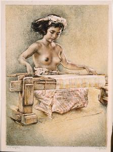 Vrouw aan weefgetouw