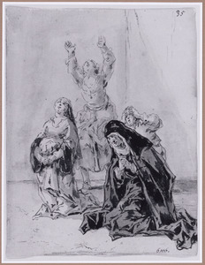 De huichelachtige weduwe met klaagvrouwen (Suenos 1641, boek V, tweede droom)