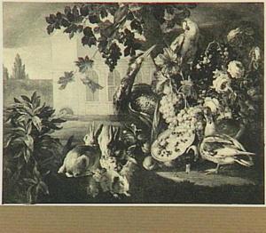 Exterieur met dieren en vruchten met links een doorkijk naar een kerk