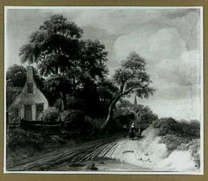 Landschap met een weg langs een boerderij