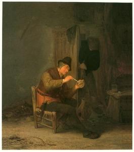Interieur met een boer die zijn pijp aansteekt, terwijl een ander binnenkomt
