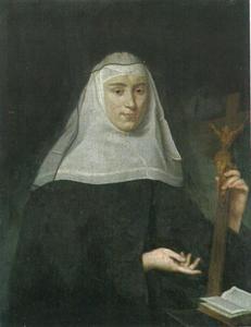 Portret van een novice van de orde der Clarissen