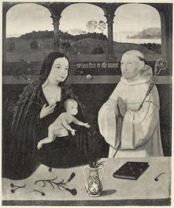 Maria met kind en een monnik