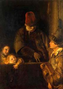 Een oude man en twee kinderen bij een draailier speler