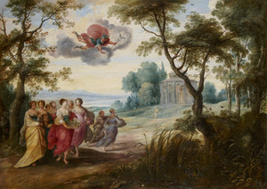 Boslandschap met Mercurius, die verliefd wordt op Herse; op de achtergrond de tempel van Hercules Victor (S. Stefano delle Carrozze)