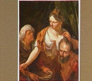 Judith en haar dienares stoppen  het hoofd van Holofernes in een zak (Judith 13:11)